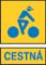 cestna modry napis zlte pozadie