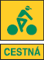 cestna zeleny napis zlte pozadie