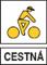 cestna zlty cyklista biele pozadie