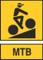 mtb cierny cyklista zlte pozadie